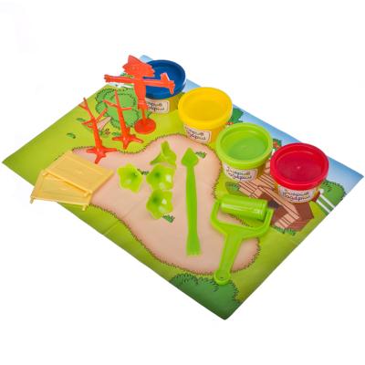 "Набор для лепки ""Мини садик"", тесто на растительной основе 4 бан. x 40гр, 4 цвета + пластик 12пр - 1"