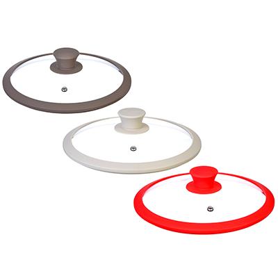 Крышка для сковороды с ручкой, стекло, силикон, 28 см, SATOSHI - 1
