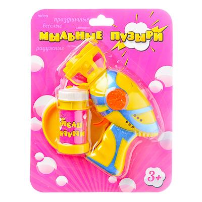 """Игрушка с мыльными пузырями """"Пистолет"""", мыльный раствор, пластик, 2хАА, арт.0209 - 1"""