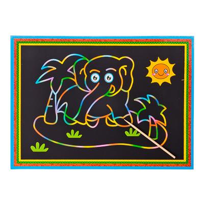 """Гравюра цветная для малышей 19х26см, в комплекте с дерев.стеком, """"Зверушки"""", 5 дизайнов - 1"""