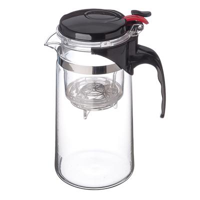Чайник заварочный с кнопкой 900мл, стекло, пластик - 1