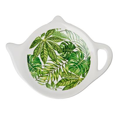 """Подставка для чайных пакетиков, керамика, 12,5x8x0,96см, """"Зеленый лист"""", дизайн GC - 1"""