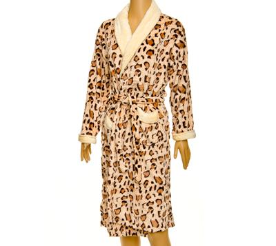 "Халат женский ""Леопард"", микрофибра, размер L, арт.ALV-51 - 1"
