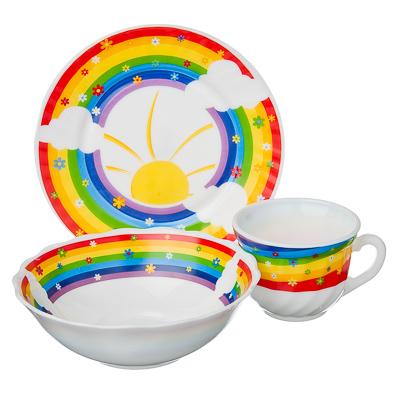 "VETTA Набор детский 3пр.(тарелка 18см, суповая 16см, чашка 190мл),опал.стекло,""Радуга"", Дизайн GC - 1"
