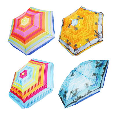 Зонт пляжный Яркое лето, 170Т, полиэстер, d160см, h170см, 16/19мм стойка, в чехле, 4 диз. - 1