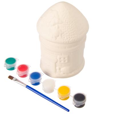 """Набор для росписи по керамике """"Копилка Грибок-домик"""", в комплекте краски, кисть, 4 дизайна - 1"""