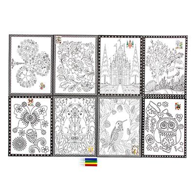 Раскраска антистресс, бумага, 26х19см, 4 фломастера, 8 дизайнов - 1