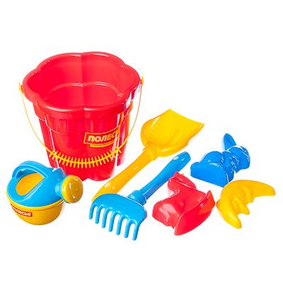 ПОЛЕСЬЕ Набор для песочницы №317: ведро среднее, лопатка, грабельки, 3 форм., лейка, пластик, 35608 - 1