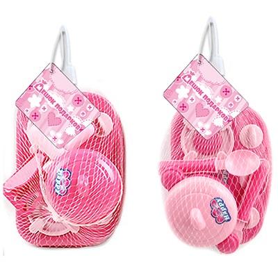 """МЕШОК ПОДАРКОВ Набор детской посуды с плитой """"Розовый"""", пластик, 20х12х10см, 2 дизайна, 100991475 - 1"""