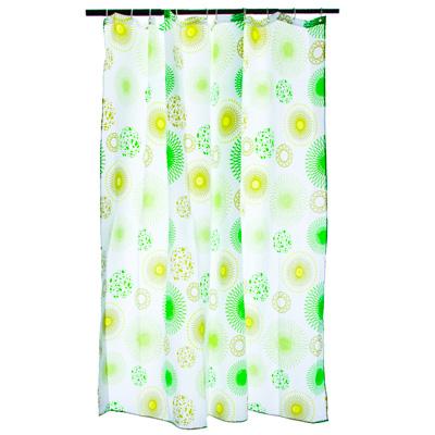 """VETTA Шторка для ванной, ткань полиэстер с утяжелит, 180x180см, """"Зелёные круги"""" - 1"""