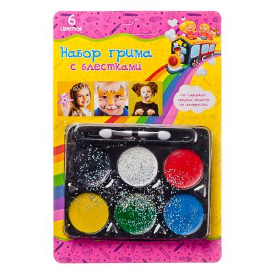 Набор грима с блестками, 6 цветов, аппликатор в комплекте, 12,7х18,8см, масляный грим, пластик - 1
