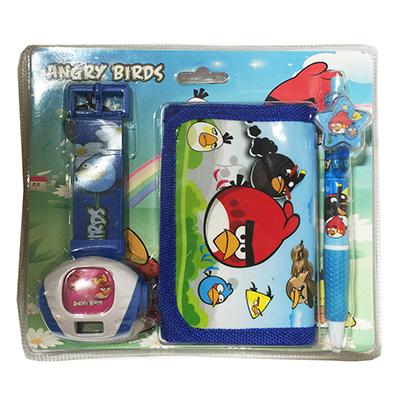 Набор Angry Birds (часы наручные электронные, кошелек, ручка), пластик, текстиль, металл, 17х3х19см - 1