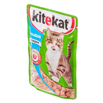 """KITEKAT Корм для кошек влажный 85г """"Рыба в соусе"""" - 1"""