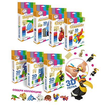 ОРИГАМИ Набор для лепки 3D, пластилин, дерево, пластик, 9,5х16х2см, 3+, 12 дизайнов, 01919/02510 - 1