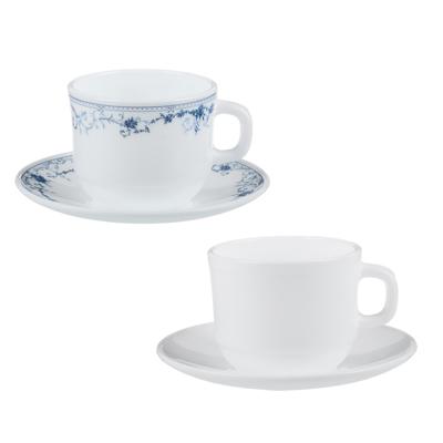 """Чайная пара: чашка 250 мл, блюдце 15 см, опаловое стекло, MILLIMI """"Бьянко"""" - 1"""