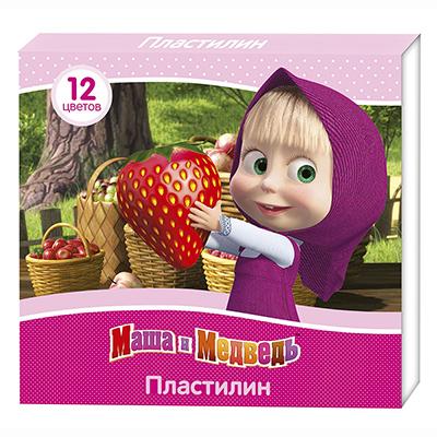 "РОСМЭН Пластилин ""Маша и Медведь"" 12 цветов, 16,5х15х1,5см, 31962, дубль 230-024 - 1"