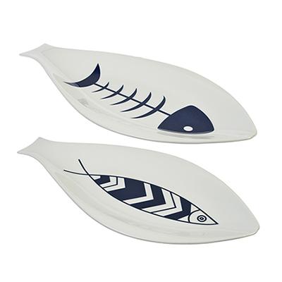 MILLIMI Форма для запекания/сервировки рыбы, 35х18см, фарфор, 2 дизайна - 1