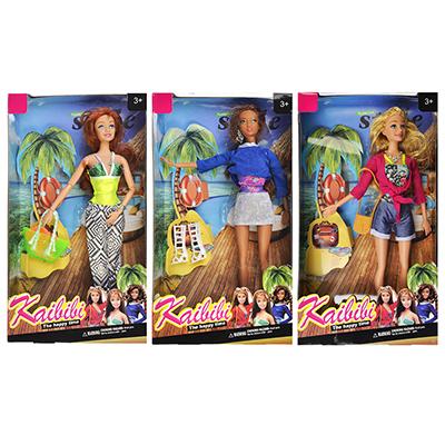 Кукла в летней одежде, пластик, полиэстер, 29см, 3 дизайна, BLD058 - 1