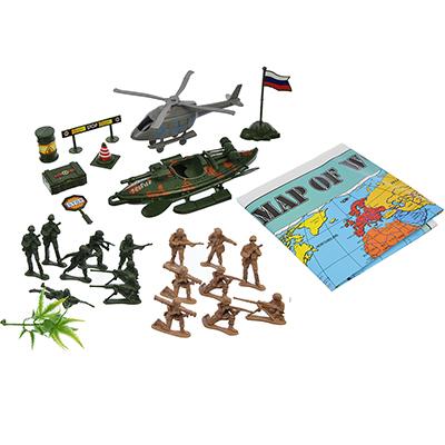 Игровой набор Военные: солдатики, военная техника, оружие, (28 предметов), пластик, 19х5,5х25см - 1