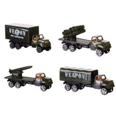 ИГРОЛЕНД Машинка Военный грузовик, металл, пластик, 1:64, 4 дизайна - 1