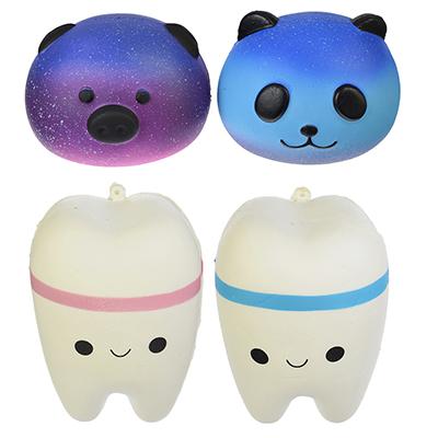 LASTIKS Игрушка-мялка с ароматом в виде Панды/Зубика, полиуретан, 7х8,5/10х7см, 2 дизайна, 4 цвета - 1