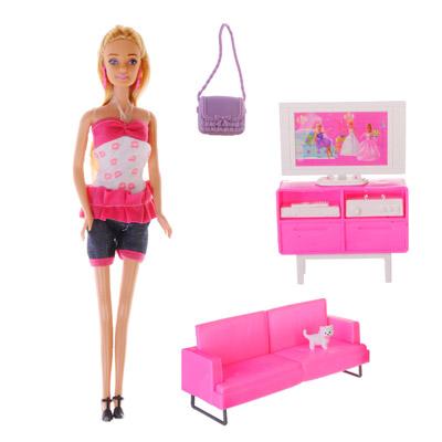 ИГРОЛЕНД Кукла с мебелью для гостиной пластик, полиэстер, 31Х36Х8см - 1