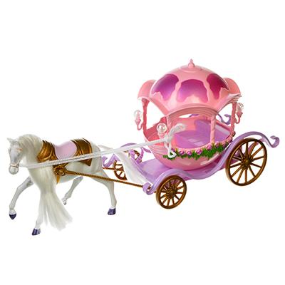 ИГРОЛЕНД Лошадь с каретой для маленькой куколки, пластик, 34х17х10,5см - 1