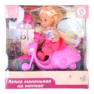 ИГРОЛЕНД Кукла маленькая на мопеде, пластик, полиэстер - 1