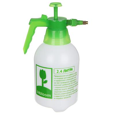 Пульверизатор помповый INBLOOM 2,4 л, 30 см, пластик, бело-зеленый - 1