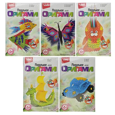 ЛОРИ Набор для творчества Модульное оригами, бумага, 10х7,5х10см, 5 дизайнов - 1