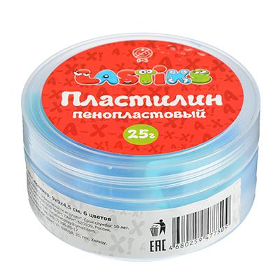 Пенопластовый пластилин, 25г , полимер, 9х9х4,5см, 6 цветов - 1