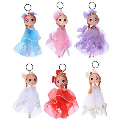 Кукла-брелок в пышном наряде, 15-18см, пластик, полиэстер, 2-4 дизайна, 3-6 цветов - 1