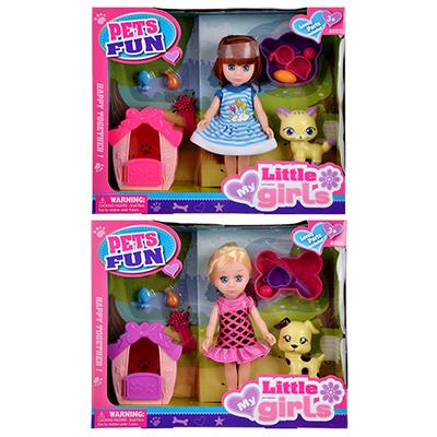 """Игровой набор кукла """"Классика"""", 22-24см, с питомцем, пластик, полиэстер, 2 дизайна - 1"""