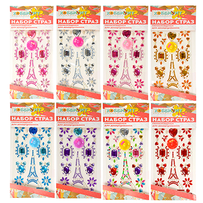 Узор из страз самоклеящихся для декорирования, пластик, 10х23х0,5см, 6-10 цветов - 1