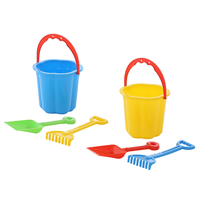 ПОЛЕСЬЕ Набор для песочницы: малое ведро, совок, грабельки, пластик, 9,5х9х13см, арт.3591 - 1