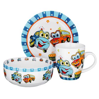 Набор детской посуды: тарелка 18 см, суповая тарелка 12,5х5,5 см, кружка 215 мл, костяной фарфор MIL - 1