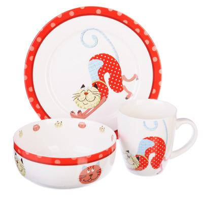 """Набор детской посуды 3 предмета, костяной фарфор, MILLIMI """"Веселый кот"""" - 1"""