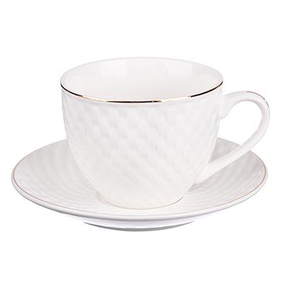 """Чайный сервиз 2 предмета, костяной фарфор, 240 мл, рельеф, MILLIMI """"Романс"""" - 1"""