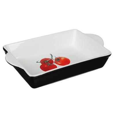 Форма для запекания и многослойных салатов прямоугольная, с ручкой, керамика, 28х17.5х5 см, MILLIMI - 1