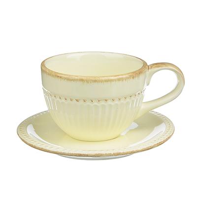 """Чайный сервиз 2 предмета, керамика, MILLIMI """"Ваниль"""" - 1"""