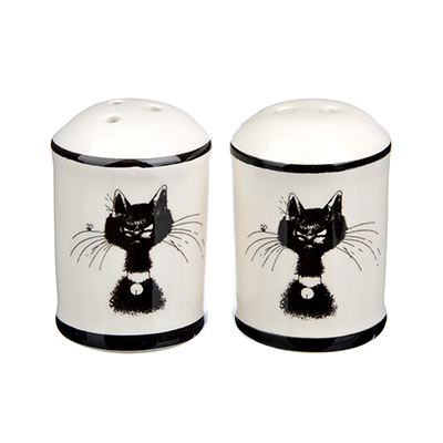 """Набор для соли и перца, керамика, 4.7х6.6 см, MILLIMI """"Черный кот"""" - 1"""