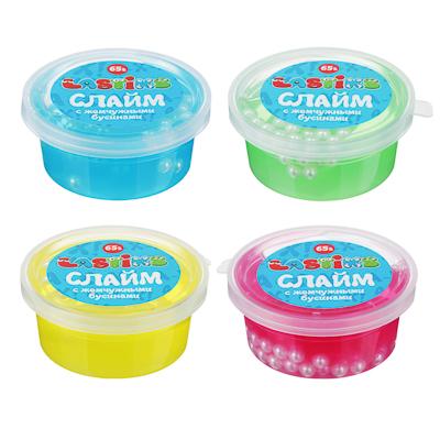 Слайм с жемчужными бусинами, 62-70гр, пластик, полимер, 6 цветов - 1