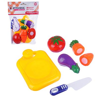 ИГРОЛЕНД Набор овощей и фруктов для резки, 5пр., пластик, 17х20,5х4,5см, 4 дизайна - 1