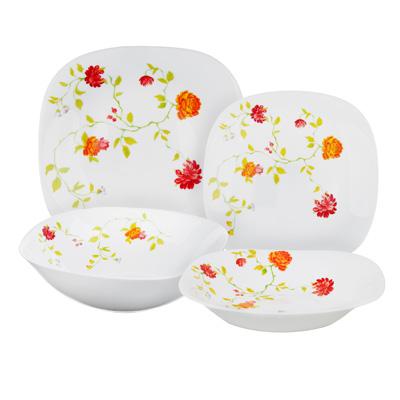 """Набор столовой посуды 13 предметов, опаловое стекло, квадратная форма, MILLIMI """"Дионис"""" - 1"""