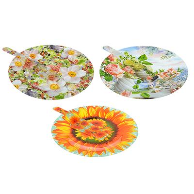 """Набор для торта 2 пр. (блюдо 30см, лопатка), стекло, """"Цветы"""", 3 дизайна - 1"""