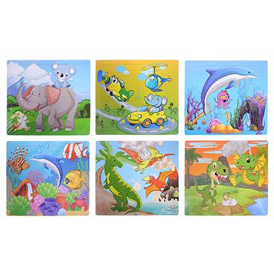 Пазл + набор раскрасок, 5 фломастеров в комплекте, картон, 17х19х1см, 6-12 дизайнов - 1