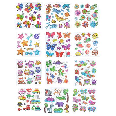 Набор 3D объемных декоративных наклеек с блестками, 21х15,5см, 6-12 дизайнов - 1