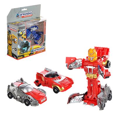 Набор роботов- машинок Страйк, пластик, 19,5х20,5х7,5см, 3 дизайна - 1