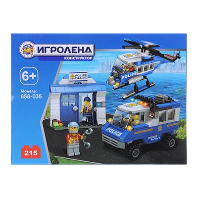 ИГРОЛЕНД Город Конструктор Полицейский вертолет, 215дет., пластик, 20х15х5см - 1
