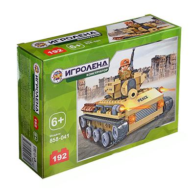ИГРОЛЕНД Армия Конструктор Танк, 192дет., пластик, 20x15x6см - 1
